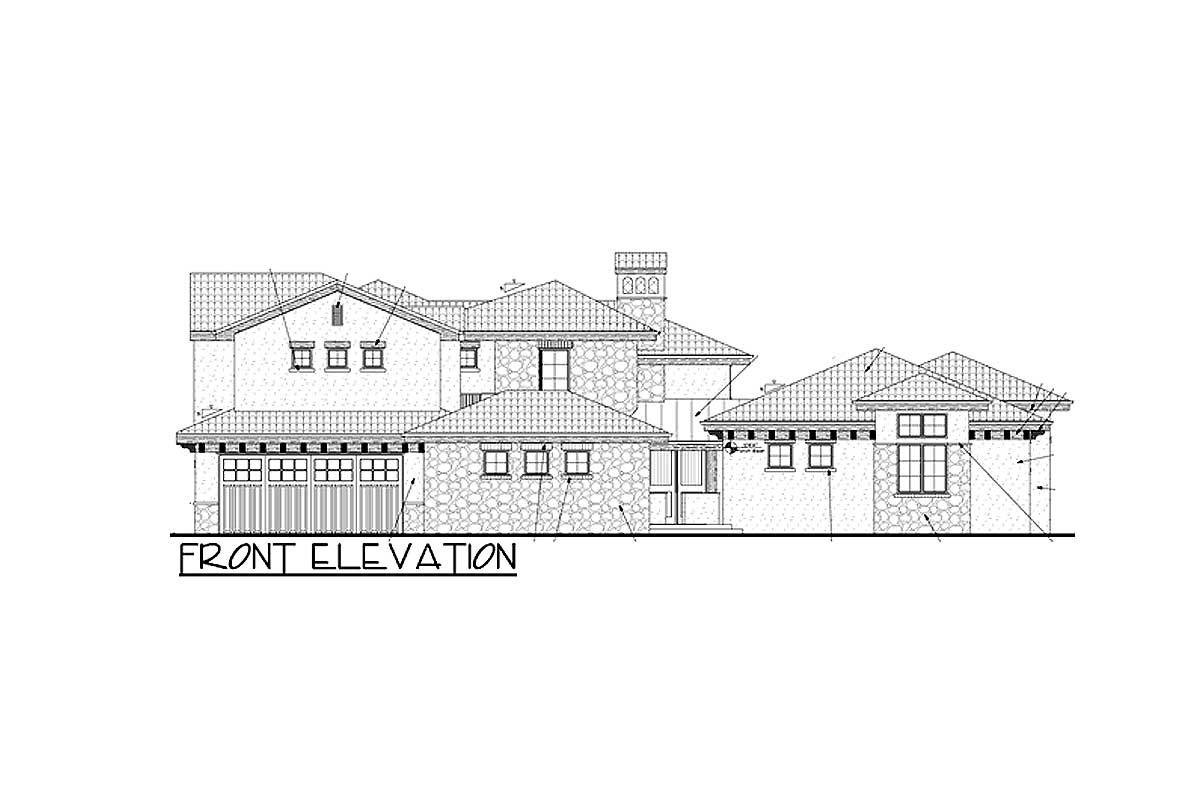 Front elevation sketch of the 5-bedroom two-story Tuscan villa.