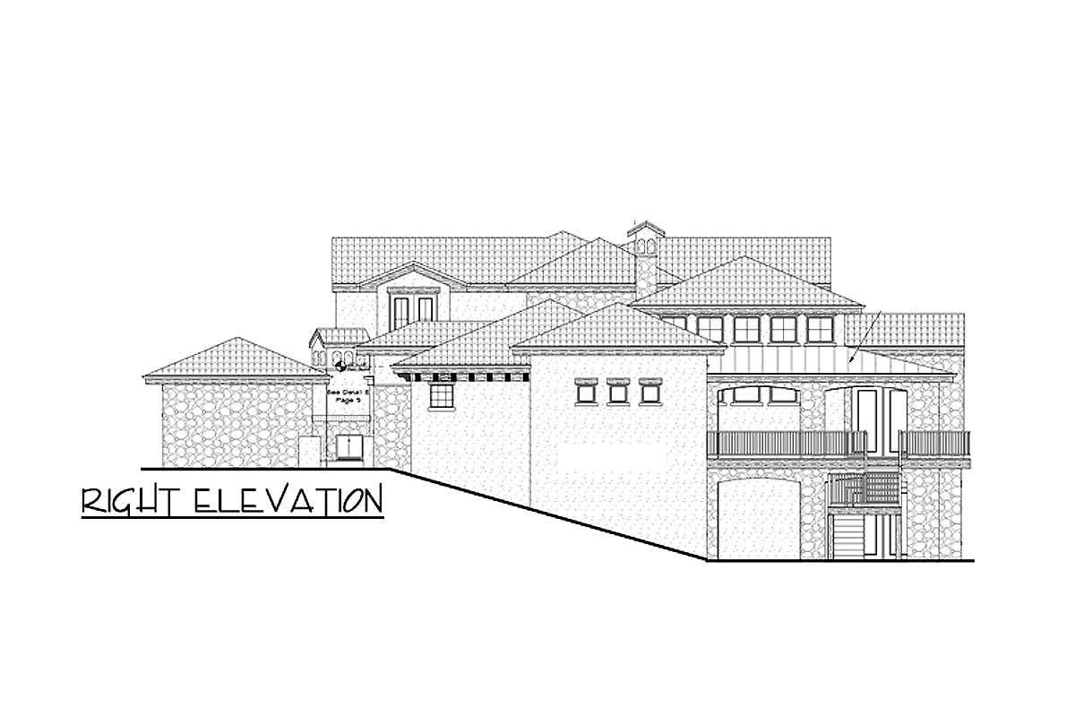 Right elevation sketch of the 5-bedroom two-story Tuscan villa.