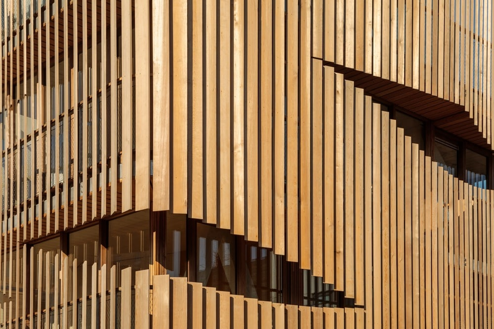 This is a closer look at the wooden slat panels that has a unique aesthetic.