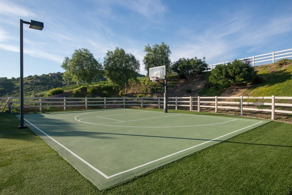 The property also has a half basketball court with a green floor to match the surrounding grass lawn. Image courtesy of Toptenrealestatedeals.com.