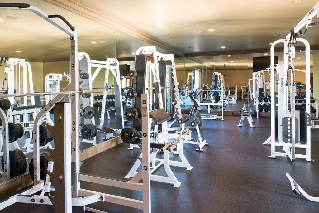 This is the fully equipped gym with various machines that stand out against the dark brown floor. Image courtesy of Toptenrealestatedeals.com.