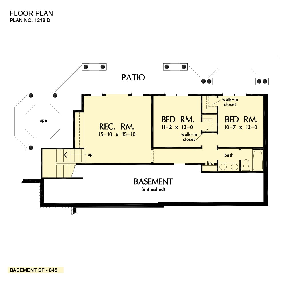 Basement floor plan with two bedrooms sharing a bath and a large recreation room with patio access.