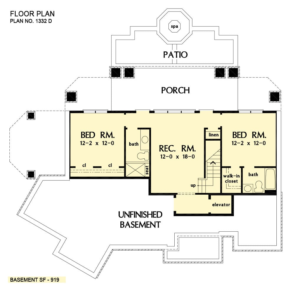 Basement floor plan with a recreation room and two bedrooms, each with their own baths and closets.
