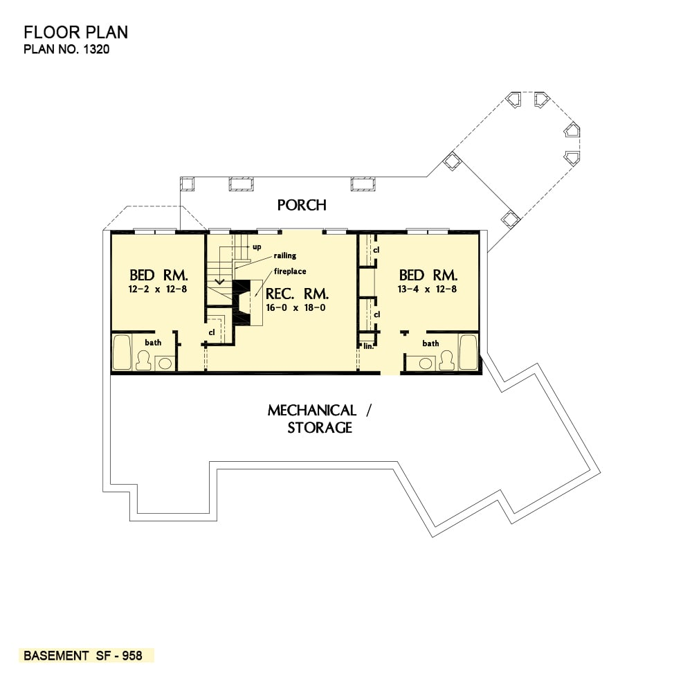 Basement floor plan with two additional bedrooms and a large rec. room that opens to the back porch.