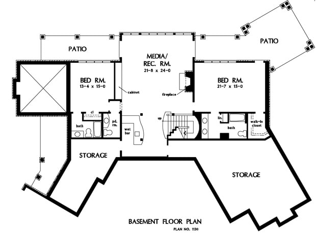 Basement floor plan with lots of storage spaces, two additional bedrooms, and a media/recreation room with fireplace and a wet bar.