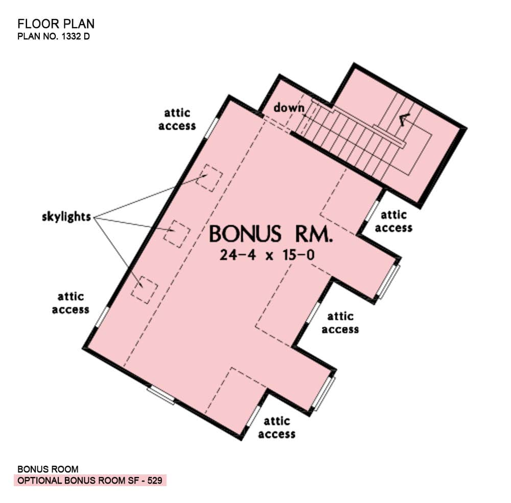 Bonus room floor plan with attic access and skylights.
