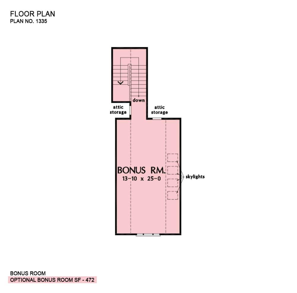 Optional bonus room floor plan with skylights and attic access.