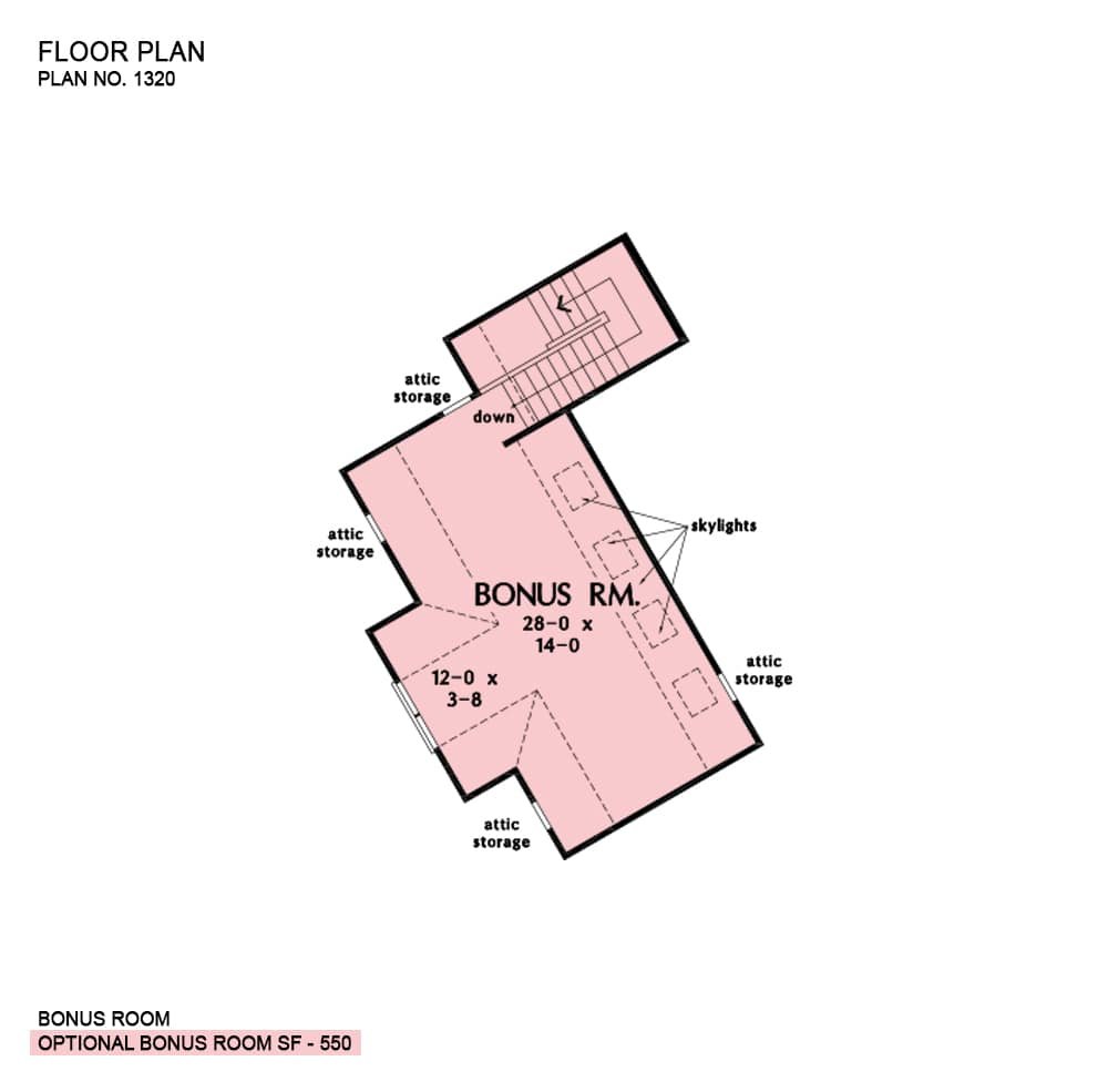 Optional bonus room floor plan with lots of attic storage and skylights.