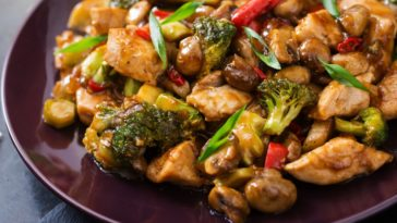 A plate of chicken stir fry with broccoli.