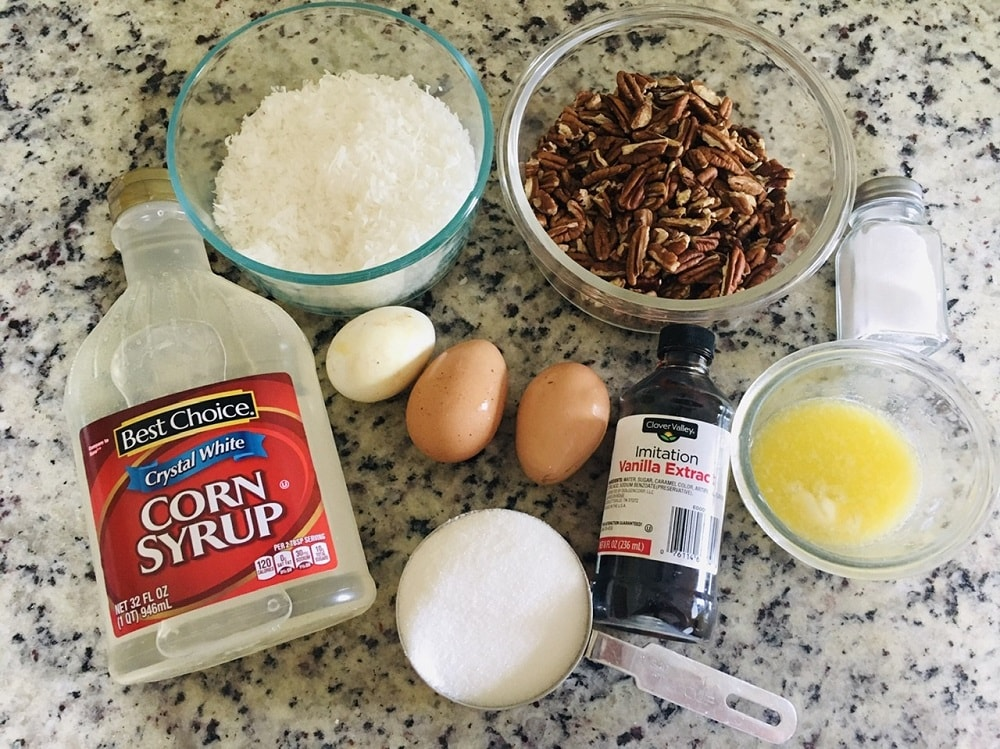 The complete set of ingredients to be used for the coconut pecan filling.
