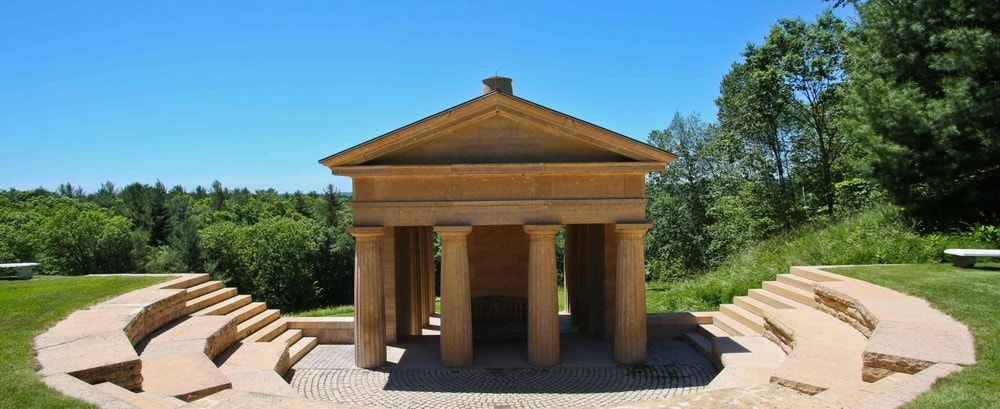 The highlight of the property is this faux Greek temple that is surrounded by a 50-seat amphitheater. Image courtesy of Toptenrealestatedeals.com.