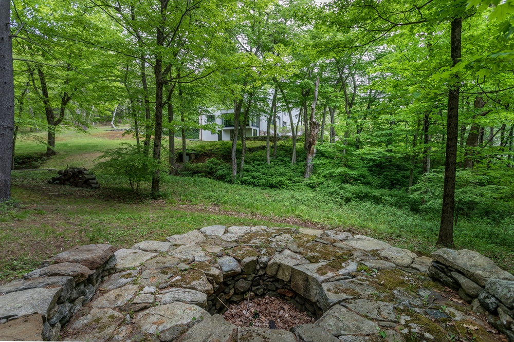 This is the view from the fire pit. You can see the house in the distance and the surrounding tall trees. Image courtesy of Toptenrealestatedeals.com.