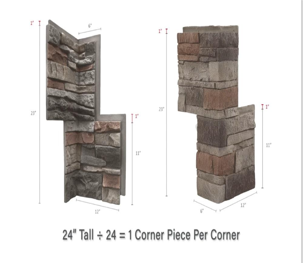 Brick veneer corner panel dimensions.