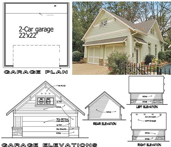 Detached garage plan showing the front, right, rear, and left elevations.