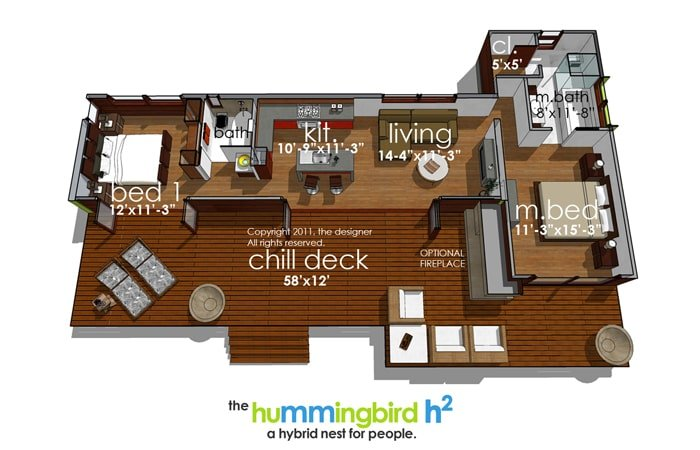 Entire floor plan of a 2-bedroom single-story Hummingbird-H2 modern style home with a chill deck, shared dining and kitchen, living room, and two bedrooms including the primary suite.