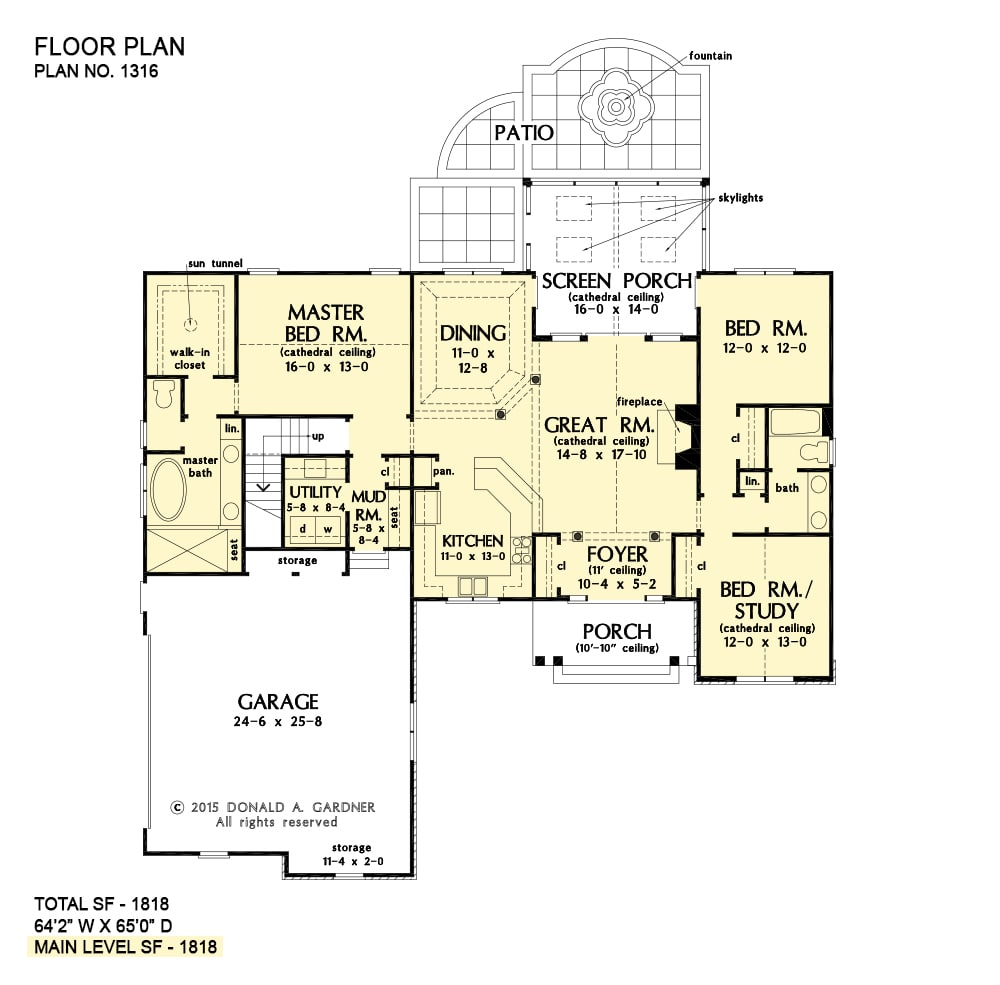 Entire floor plan of a 3-bedroom single-story the Primrose home with foyer, kitchen, dining area, great room that opens to the screened porch, utility, and three bedrooms including the primary suite and versatile study.