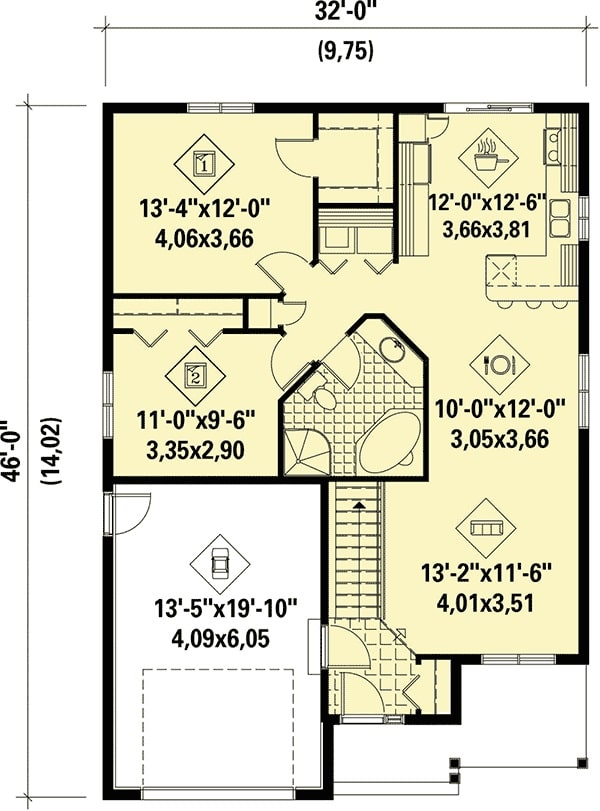 Entire floor plan of a single-story 2-bedroom starter home with living room, shared dining and kitchen, laundry, a common bath, and two bedrooms with walk-in closets.