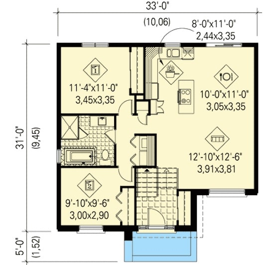 Entire floor plan of a single-story 2-bedroom urban style split level home with a front porch, foyer, living room, shared dining and kitchen, and two bedrooms sharing a common bath.