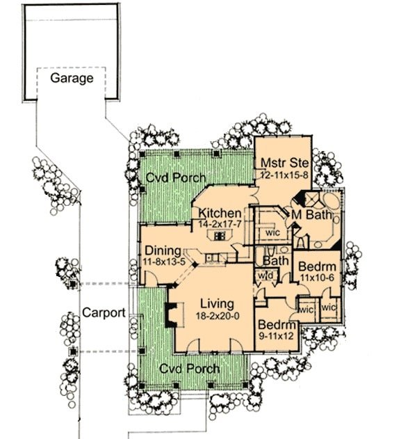 Entire floor plan of a single-story 3-bedroom bungalow with covered porches, living room, formal dining room, kitchen, three bedrooms, and a carport leading to the garage.