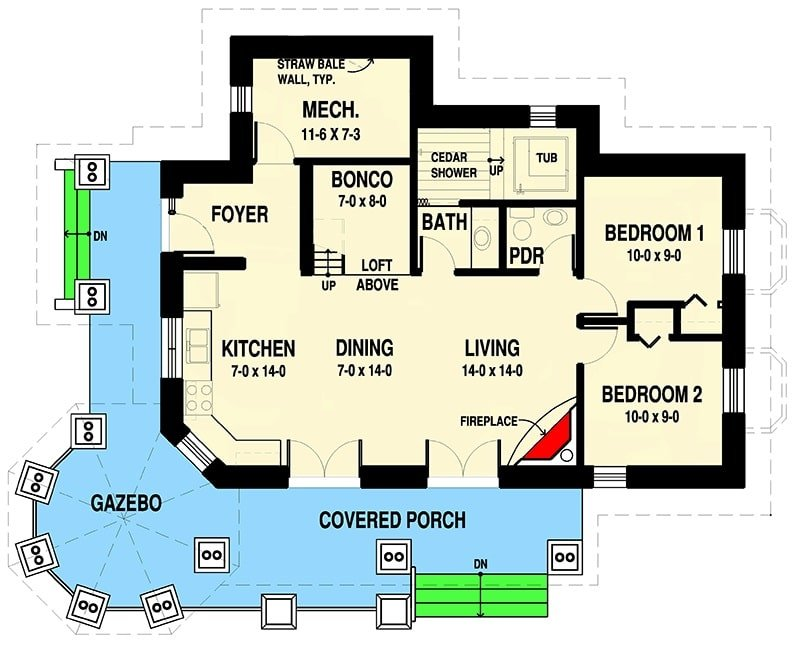 Entire floor plan of a two-story 2-bedroom getaway cabin with covered porch, living room, shared dining and kitchen, two bedrooms, powder room, and a full bath with cedar shower and tub.