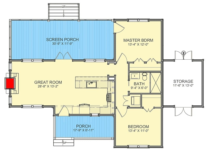 Entire level floor plan of a 2-bedroom single-story cottage with storage room, great room that opens to the screened porch, kitchen, and two bedrooms sharing a bathroom.