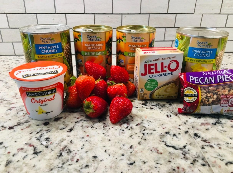 Creamy fruit salad ingredients.