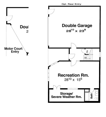 Ground level floor plan with a double garage and a large recreation room complete with a full bath and a spacious storage/severe weather room.