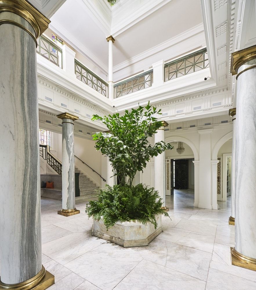 Upon entry of the house, you are welcomed by this bright and white foyer with a large planter in the middle fitted with a medium-sized tree and shrubs. These stand out against the white pillars, walls and flooring. Image courtesy of Toptenrealestatedeals.com.
