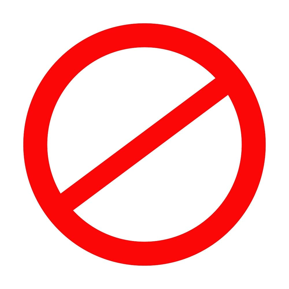 A sign for stop or prohibition of.