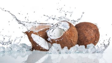 A set of coconuts bursting on a white surface.