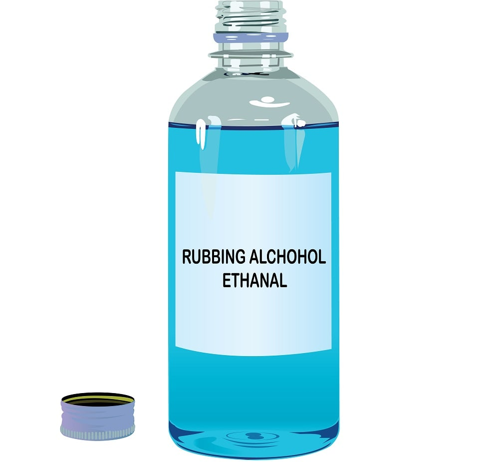 A bottle of rubbing alcohol.