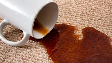 A mug of black coffee that spilled onto the beige carpet.