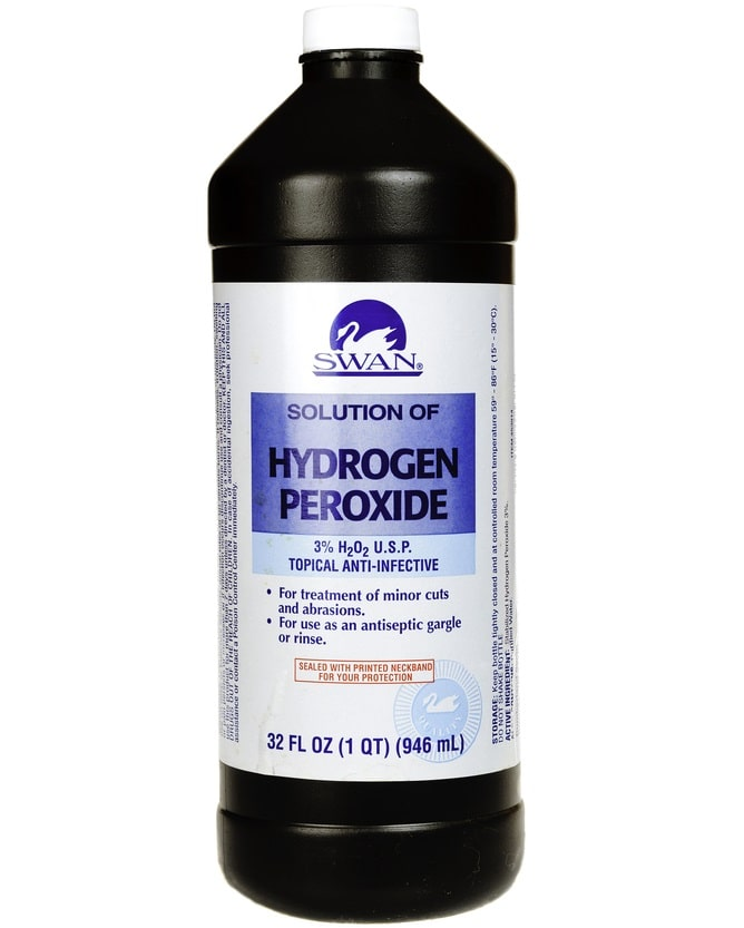 A close look at a Swan brand hydrogen peroxide.