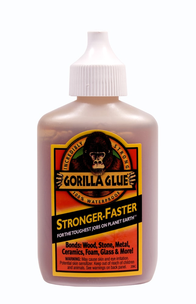 A bottle of Gorilla Glue on a white background.