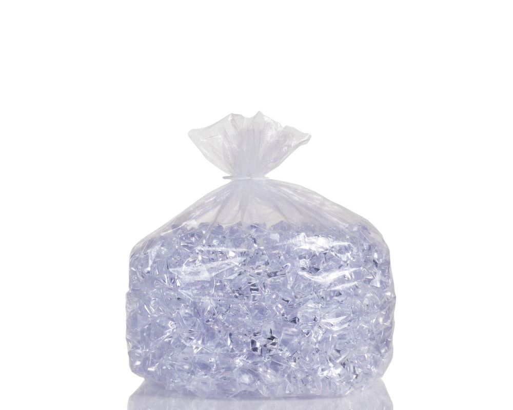 A bag of ice cubes.