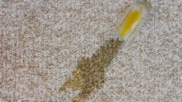 A glass of orange juice that fell on the carpet.