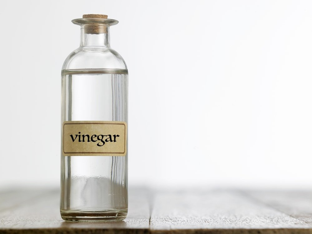 A glass bottle of vinegar capped with a cork.