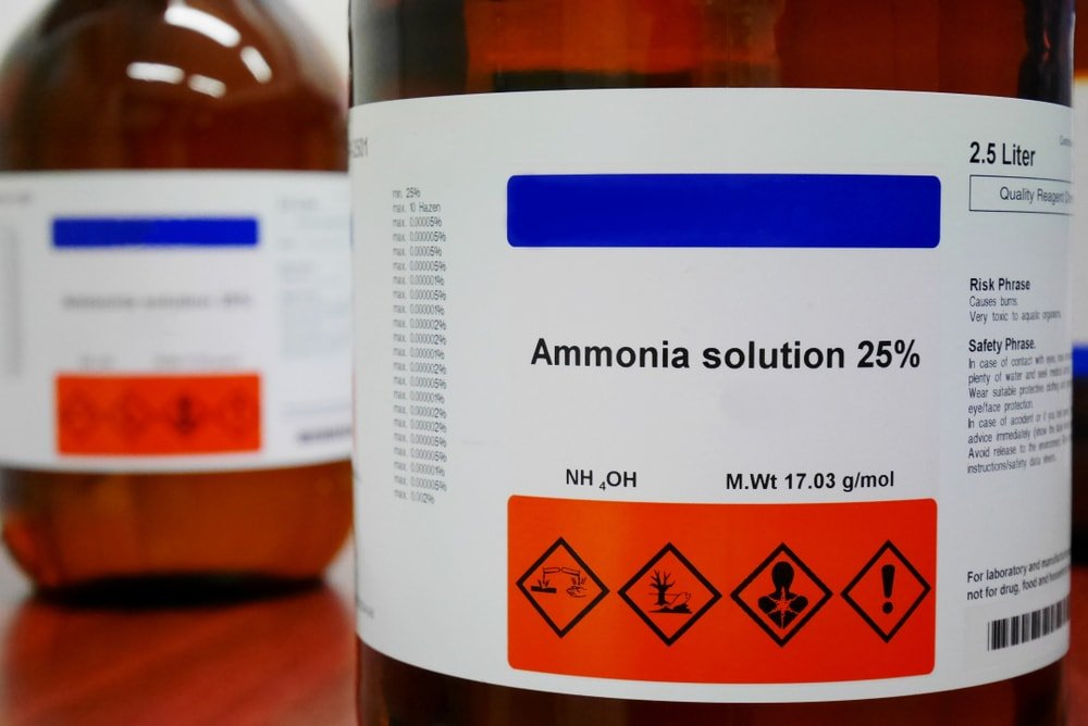 A close look at a bottle of ammonia.