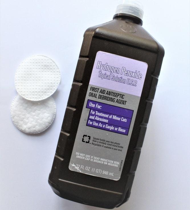 A bottle of hydrogen peroxide.