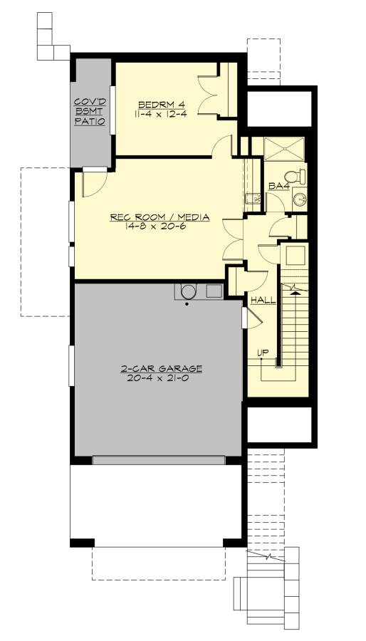 Lower Level floor plan with 2-car garage, another bedroom and a rec room/media room that opens to the covered basement patio.
