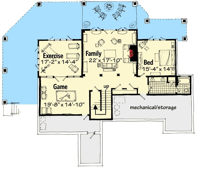 Lower level floor plan with another bedroom, a full bath, exercise room, game room, and a large family room that opens out to the back porch.