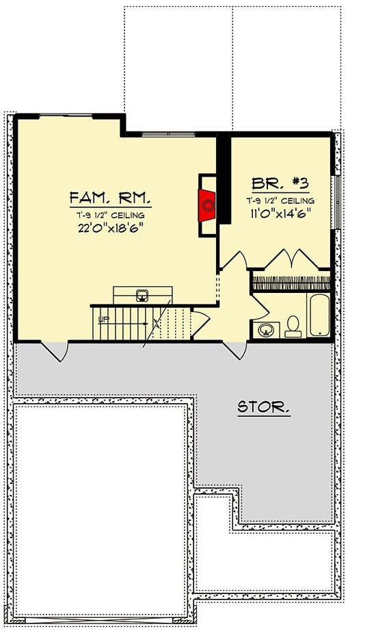 Lower level floor plan with a large family room and another bedroom complete with a walk-in closet and a private bath.