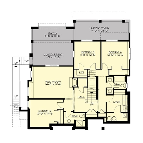 Lower level floor plan with three bedrooms, laundry, and a recreation room that opens to the rear patio.
