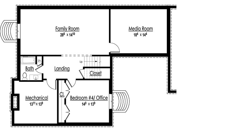 Lower level floor plan with family room, media room, a full bath, mechanical room, and flexible space that you can use as an office or another bedroom.