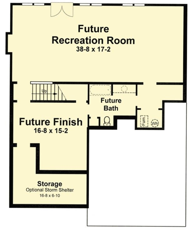 Lower level floor plan with a massive future recreation room, a full bath, and storage or optional storm shelter.