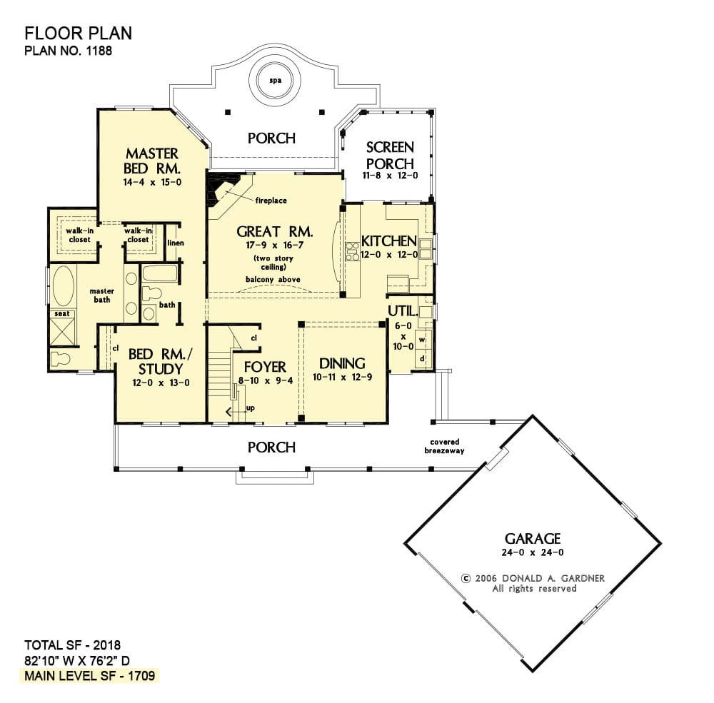 Main level floor plan of a 2-bedroom two-story The Gloucester home with a large front porch, great room, formal dining room, kitchen with screened porch access, utility, primary suite, and flexible space that can be used as a study or bedroom.
