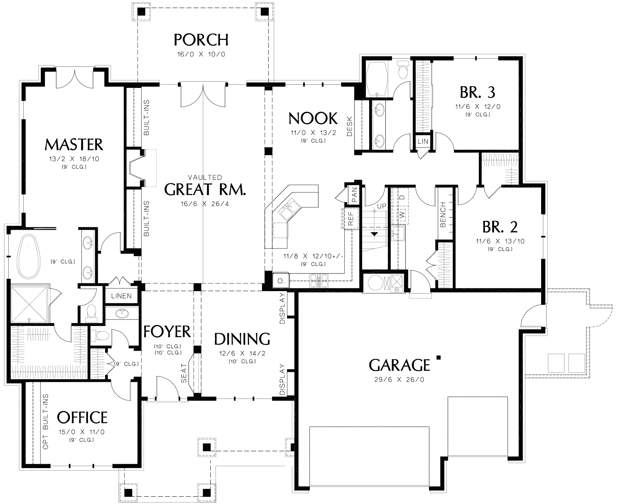 Main level floor plan of a 3-bedroom single-story The Barrington home with a foyer formal dining room, great room that opens to the back porch, kitchen with breakfast nook, three bedrooms, office, and a utility room that leads to the oversized garage.