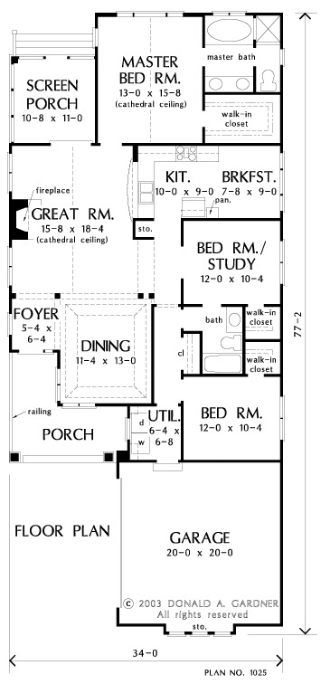Entire floor plan of a 3-bedroom single-story The Currier home with foyer, formal dining room, great room that opens to the screened porch, kitchen with breakfast nook, and three bedrooms where one doubles as a study.