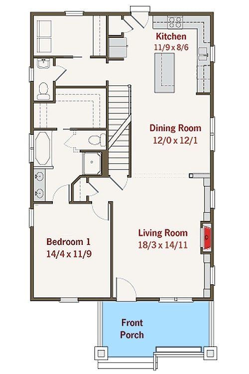 Main level floor plan of a 3-bedroom two-story bungalow home with a covered front porch, living room, shared dining and kitchen, utility, and a primary bedroom complete with a bath and a walk-in closet.