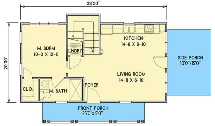Main level floor plan of a 3-bedroom two-story cottage home with front and side porches, living room, kitchen, laundry, and a primary bedroom complete with a walk-in closet and private bath.